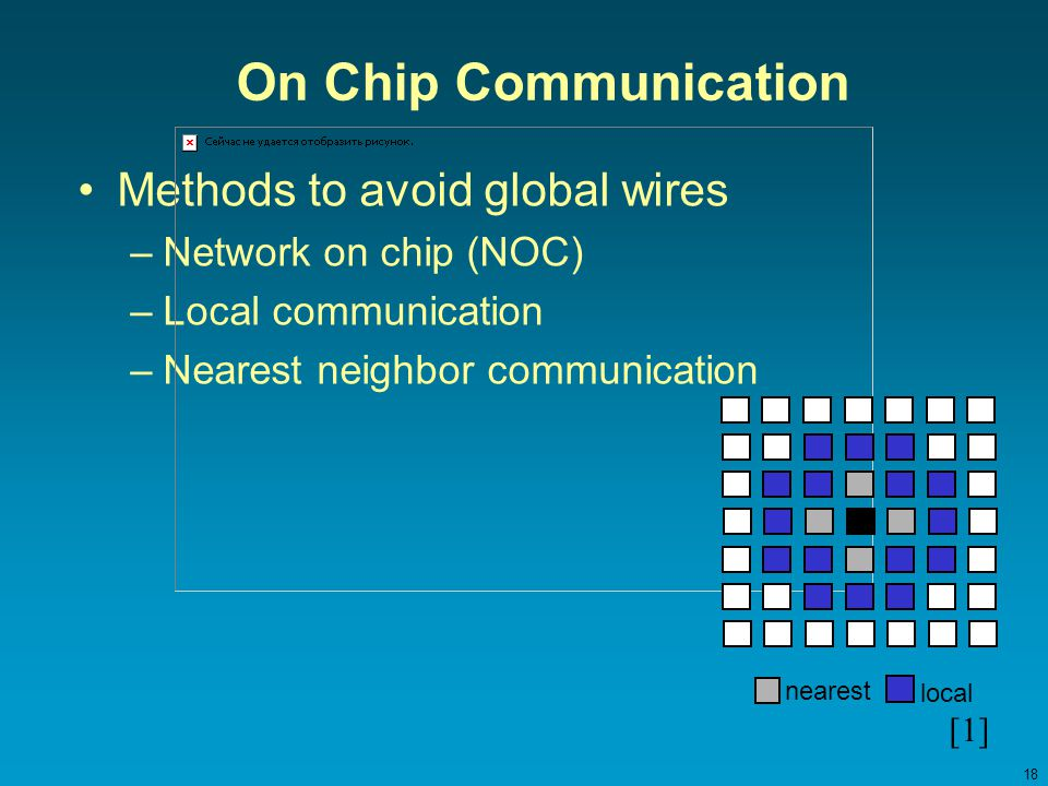18 On Chip Communication Methods to avoid global wires –Network on chip (NOC) –Local communication –Nearest neighbor communication nearest local [1]
