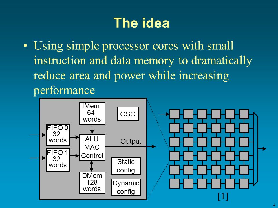 4 The idea Using simple processor cores with small instruction and data memory to dramatically reduce area and power while increasing performance [1]