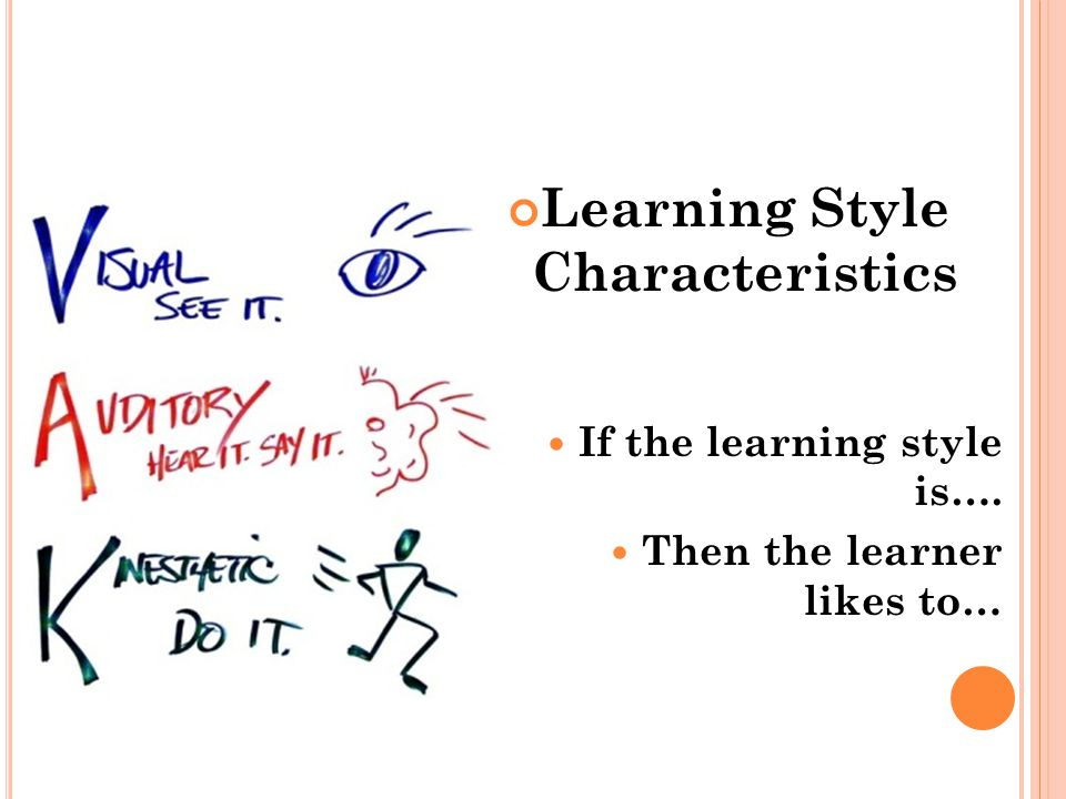 Learning Style Characteristics If the learning style is…. Then the learner likes to…