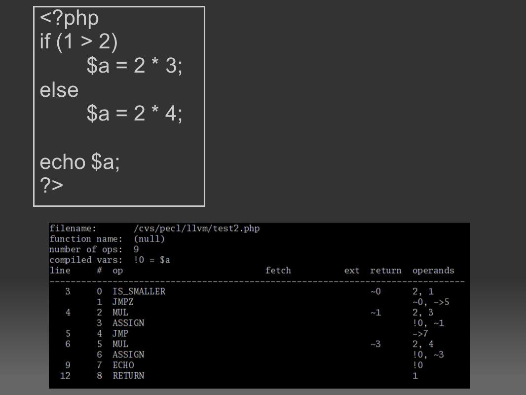 2) $a = 2 * 3; else $a = 2 * 4; echo $a; ?>