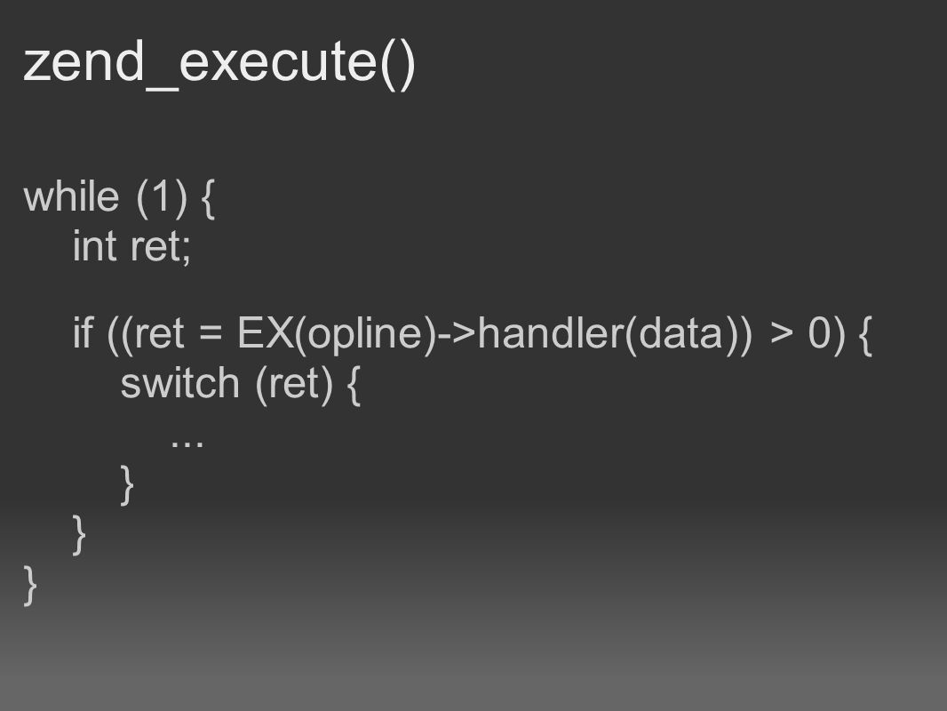 zend_execute() while (1) { int ret; if ((ret = EX(opline)->handler(data)) > 0) { switch (ret) {... } } }
