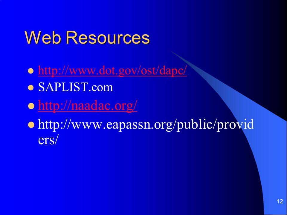 12 Web Resources http://www.dot.gov/ost/dapc/ SAPLIST.com http://naadac.org/ http://www.eapassn.org/public/provid ers/