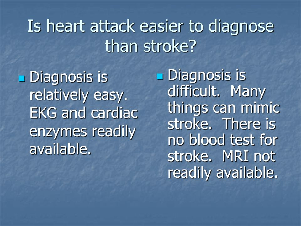 Diagnosis is relatively easy. EKG and cardiac enzymes readily available.
