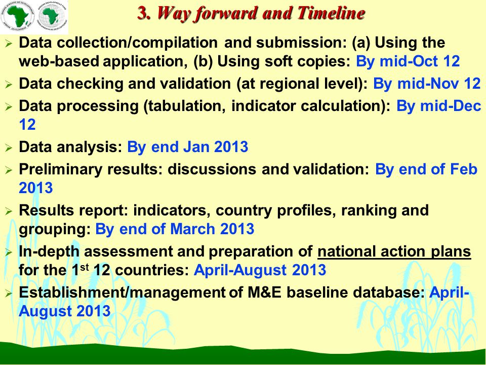 3. Way forward and Timeline  Data collection/compilation and submission: (a) Using the web-based application, (b) Using soft copies: By mid-Oct 12 
