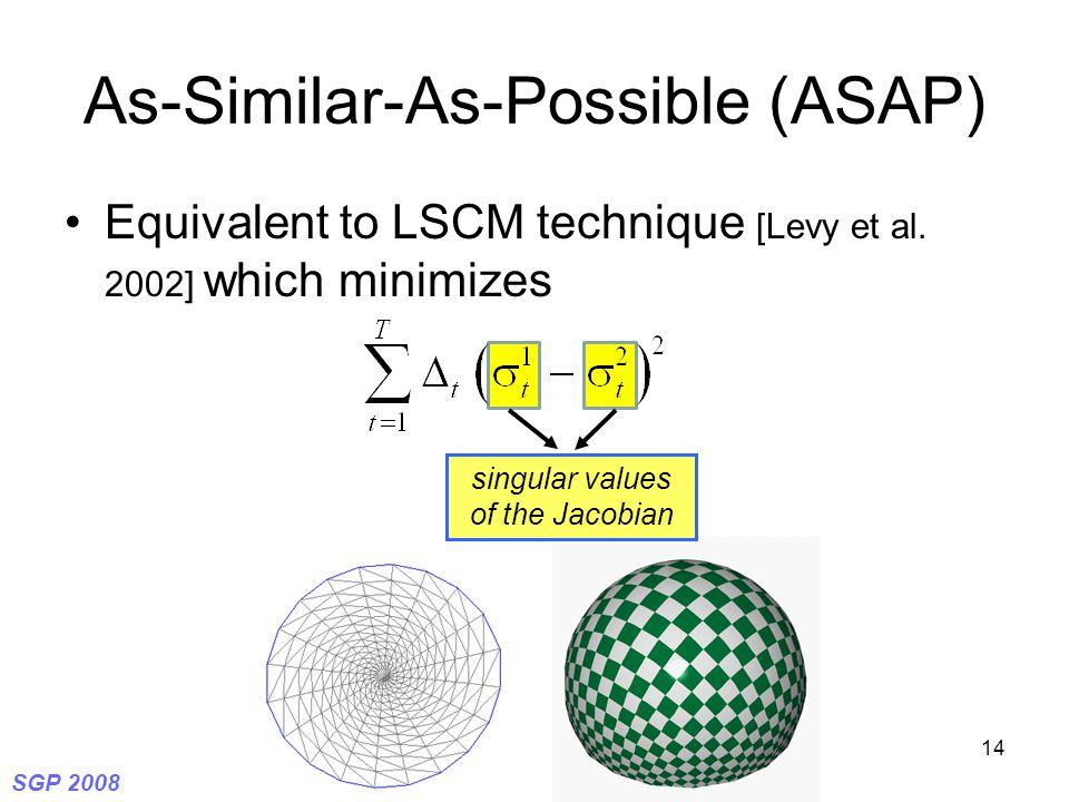 SGP 2008 14 As-Similar-As-Possible (ASAP) Equivalent to LSCM technique [Levy et al.