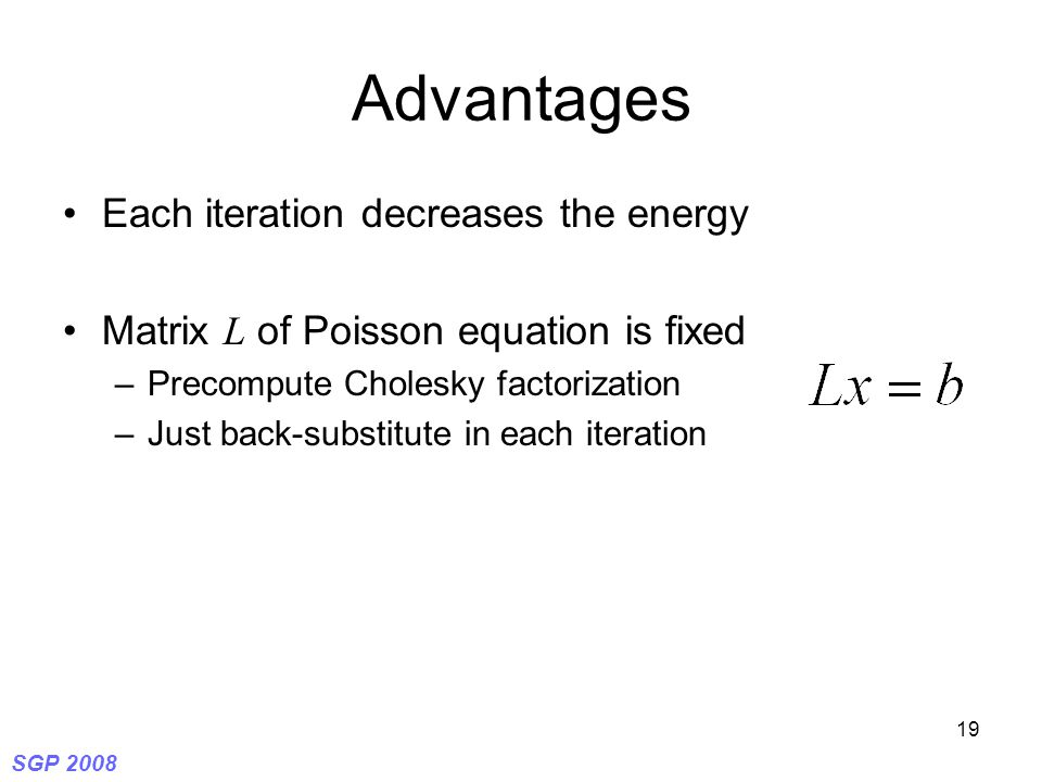 SGP 2008 19 Advantages Each iteration decreases the energy Matrix L of Poisson equation is fixed –Precompute Cholesky factorization –Just back-substitute in each iteration