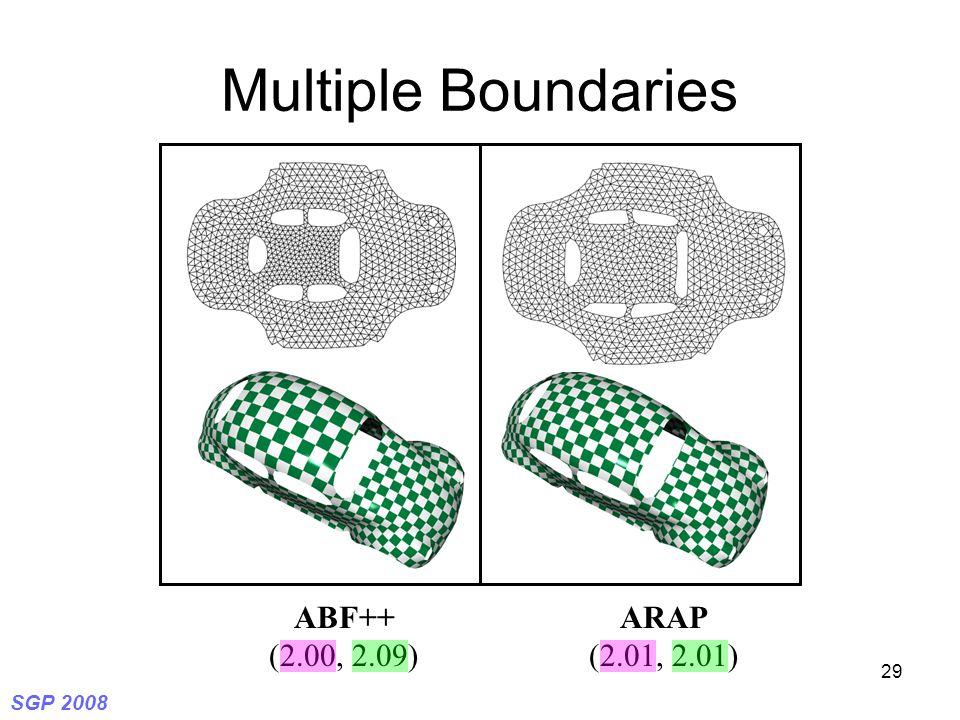 SGP 2008 29 Multiple Boundaries ABF++ (2.00, 2.09) ARAP (2.01, 2.01)
