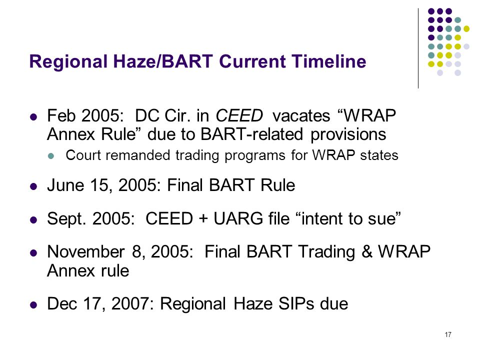 17 Regional Haze/BART Current Timeline Feb 2005: DC Cir.