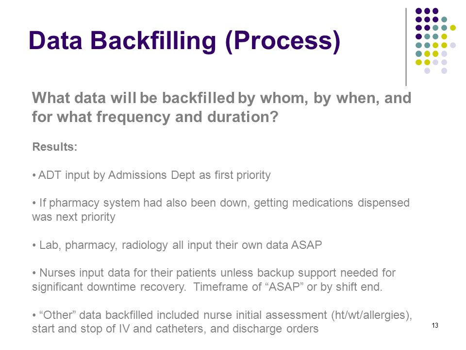 Data Backfilling (Process) 13 What data will be backfilled by whom, by when, and for what frequency and duration.