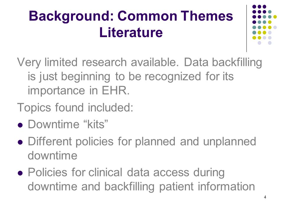 Background: Common Themes Literature Very limited research available.