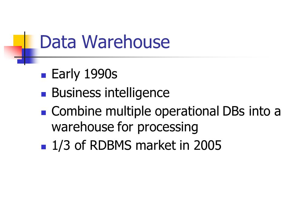 Outline Introduction Data Warehouse Text Search Stream Processing Scientific Data OLTP Summary