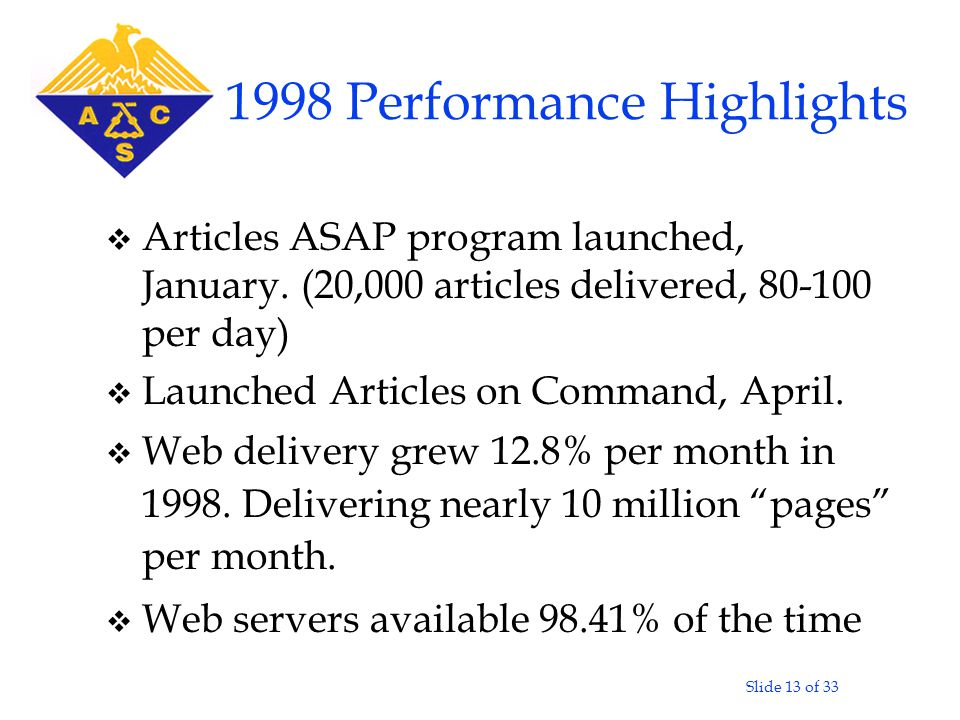 Slide 13 of 33 1998 Performance Highlights v Articles ASAP program launched, January.
