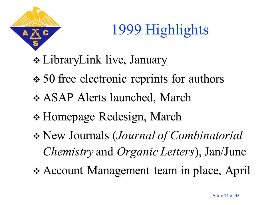 Slide 14 of 33 v LibraryLink live, January v 50 free electronic reprints for authors v ASAP Alerts launched, March v Homepage Redesign, March v New Journals (Journal of Combinatorial Chemistry and Organic Letters), Jan/June v Account Management team in place, April 1999 Highlights