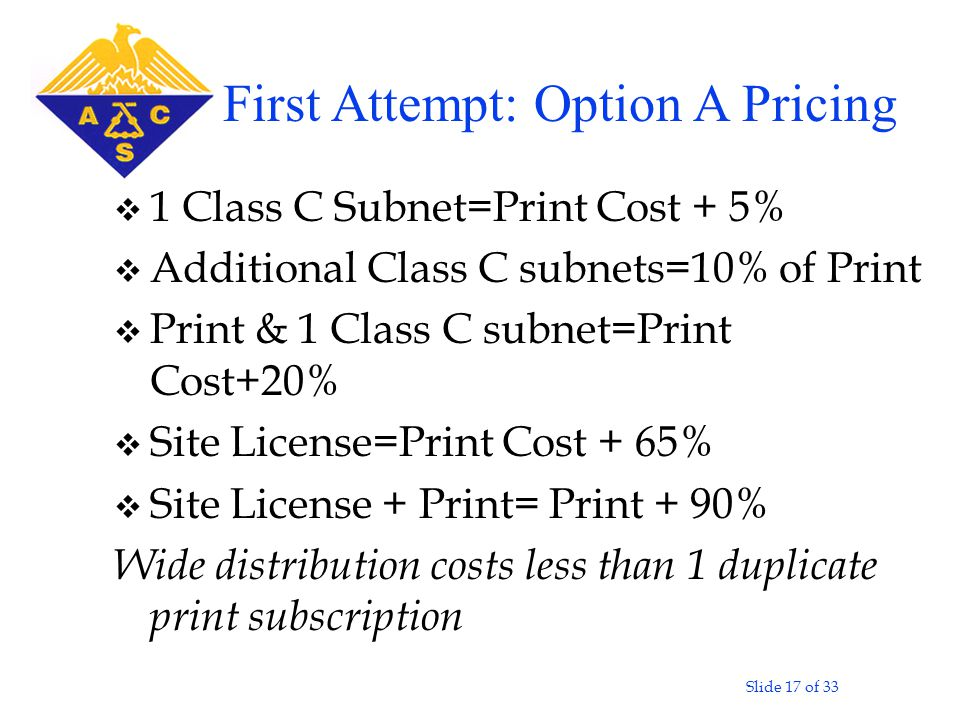 Slide 17 of 33 v 1 Class C Subnet=Print Cost + 5% v Additional Class C subnets=10% of Print v Print & 1 Class C subnet=Print Cost+20% v Site License=Print Cost + 65% v Site License + Print= Print + 90% Wide distribution costs less than 1 duplicate print subscription First Attempt: Option A Pricing