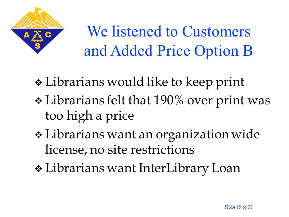Slide 18 of 33 v Librarians would like to keep print v Librarians felt that 190% over print was too high a price v Librarians want an organization wide license, no site restrictions v Librarians want InterLibrary Loan We listened to Customers and Added Price Option B