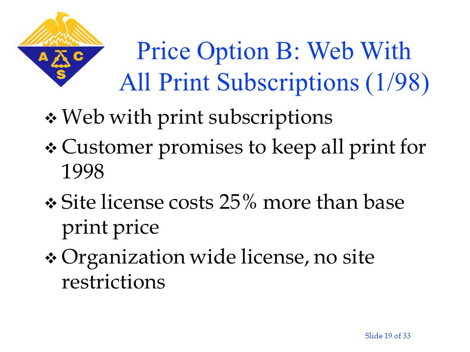 Slide 19 of 33 v Web with print subscriptions v Customer promises to keep all print for 1998 v Site license costs 25% more than base print price v Organization wide license, no site restrictions Price Option B: Web With All Print Subscriptions (1/98)