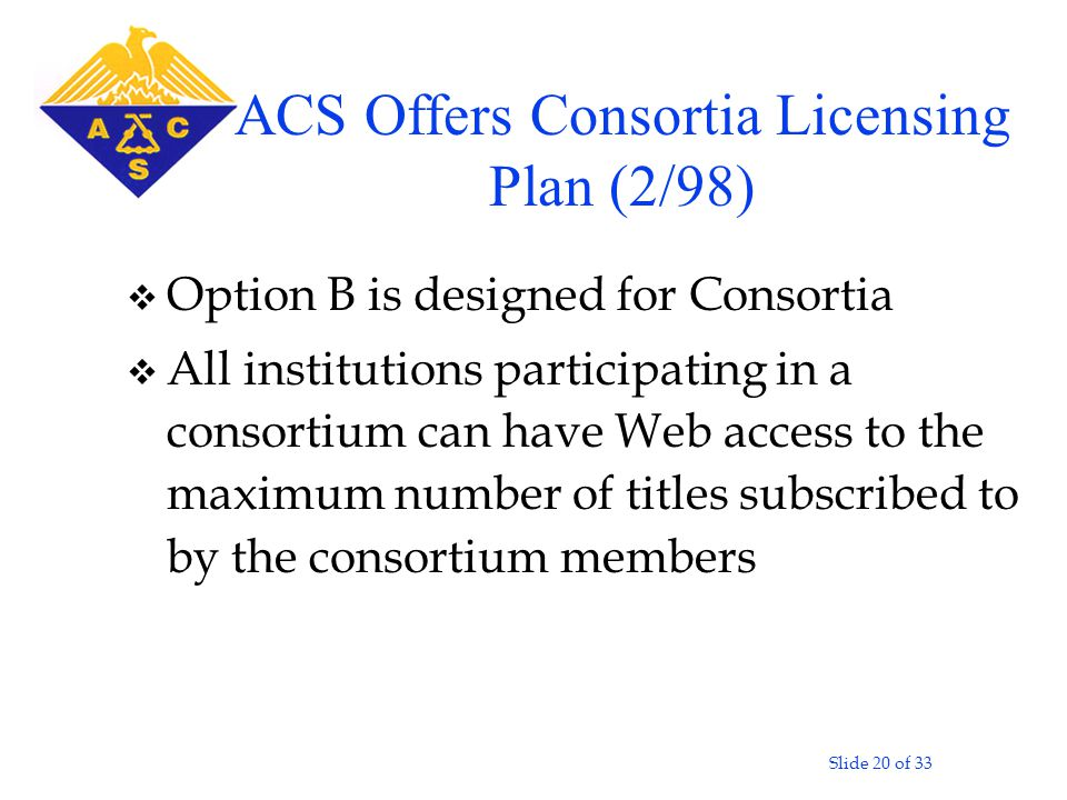 Slide 20 of 33 v Option B is designed for Consortia v All institutions participating in a consortium can have Web access to the maximum number of titles subscribed to by the consortium members ACS Offers Consortia Licensing Plan (2/98)