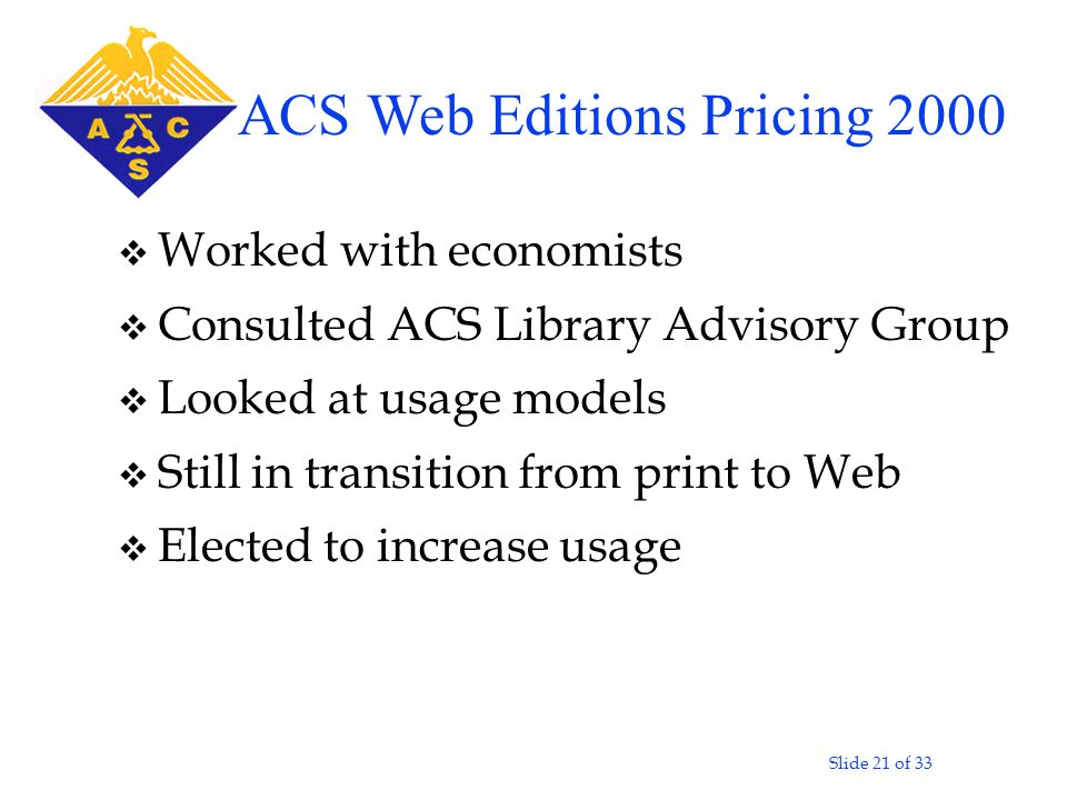 Slide 21 of 33 v Worked with economists v Consulted ACS Library Advisory Group v Looked at usage models v Still in transition from print to Web v Elected to increase usage ACS Web Editions Pricing 2000