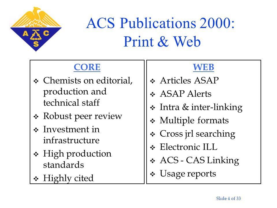 Slide 4 of 33 CORE v Chemists on editorial, production and technical staff v Robust peer review v Investment in infrastructure v High production stand