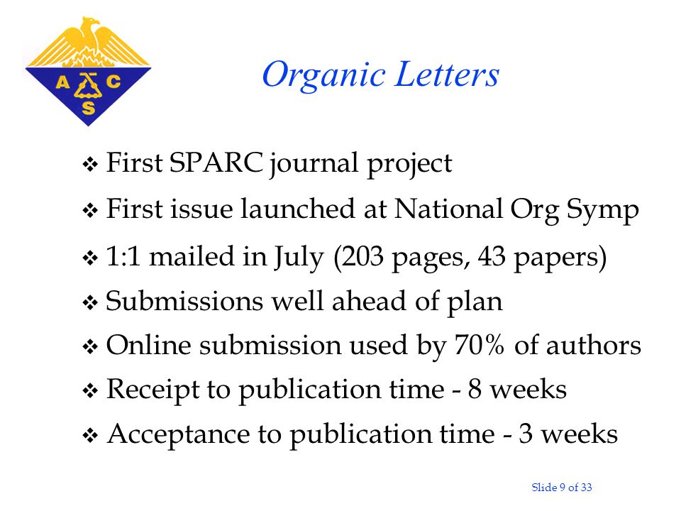 Slide 9 of 33 v First SPARC journal project v First issue launched at National Org Symp v 1:1 mailed in July (203 pages, 43 papers) v Submissions well ahead of plan v Online submission used by 70% of authors v Receipt to publication time - 8 weeks v Acceptance to publication time - 3 weeks Organic Letters