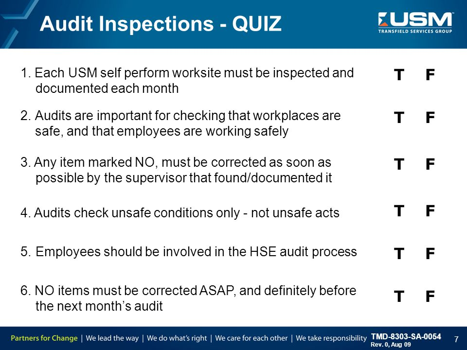 TMD-8303-SA-0054 Rev. 0, Aug 09 7 Audit Inspections - QUIZ 1.