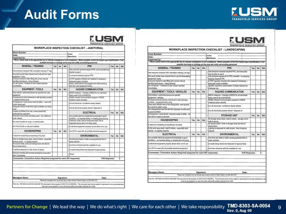 TMD-8303-SA-0054 Rev. 0, Aug 09 9 Audit Forms