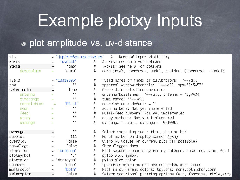17 Example plotxy Inputs plot amplitude vs. uv-distance