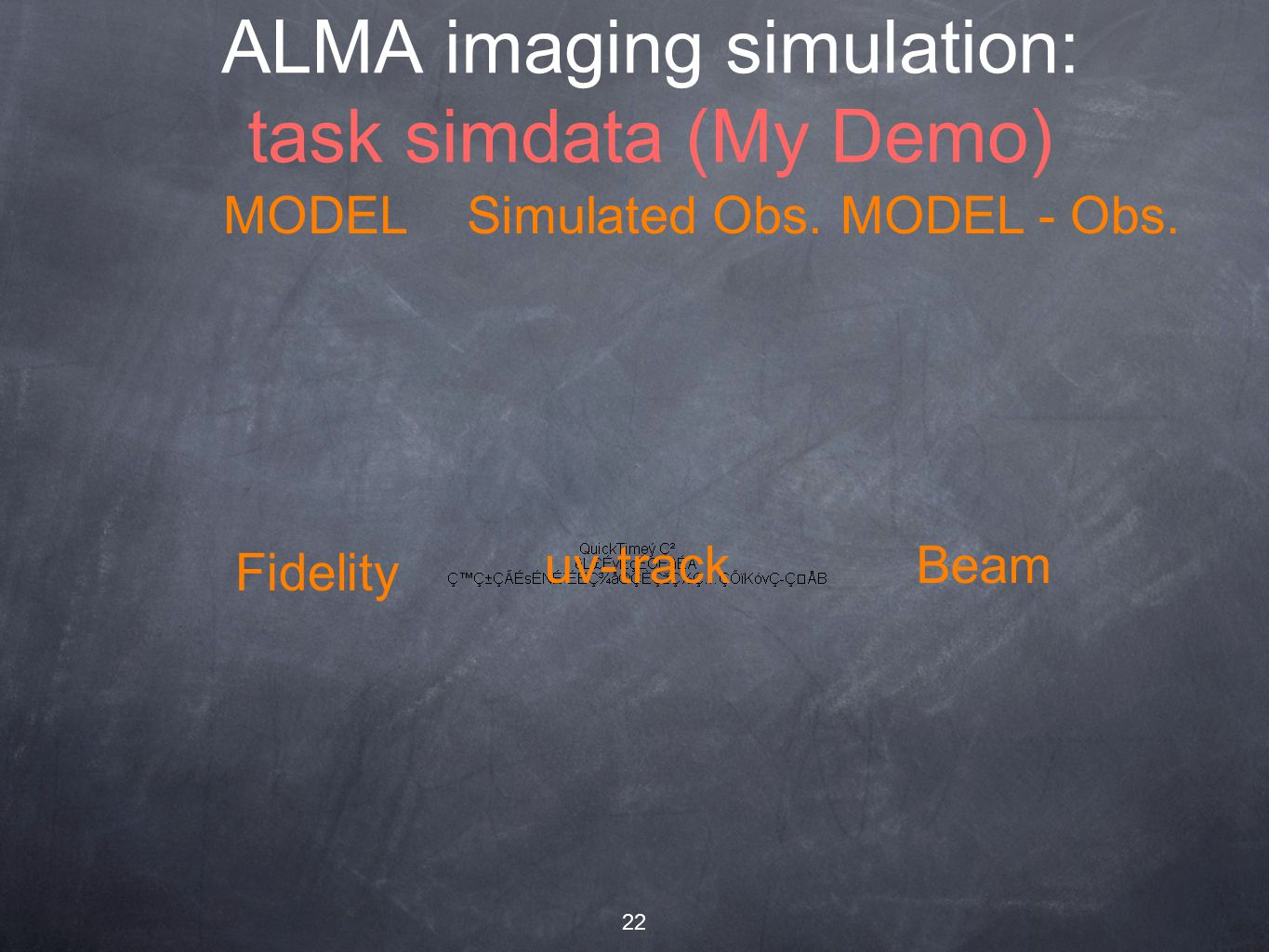 22 ALMA imaging simulation: task simdata (My Demo) MODELSimulated Obs.MODEL - Obs.