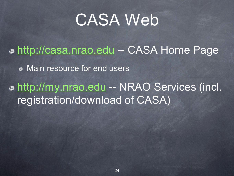 24 CASA Web http://casa.nrao.eduhttp://casa.nrao.edu -- CASA Home Page Main resource for end users http://my.nrao.eduhttp://my.nrao.edu -- NRAO Services (incl.