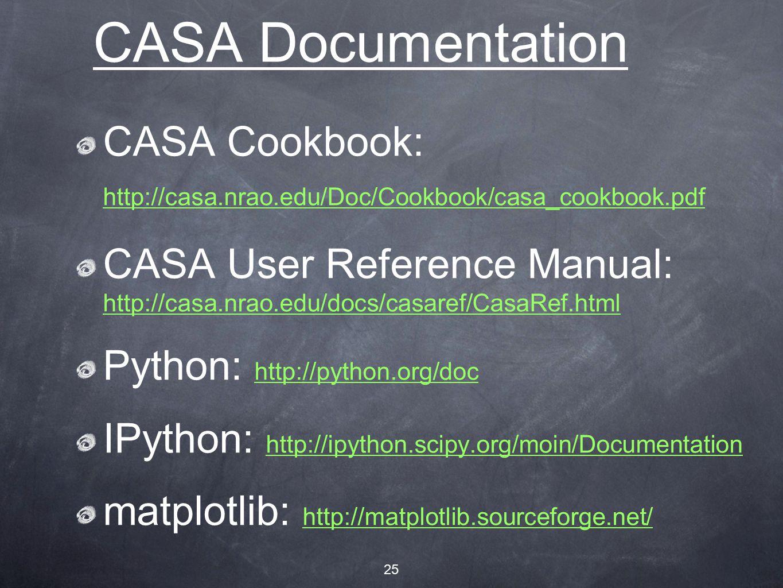25 CASA Documentation CASA Cookbook: http://casa.nrao.edu/Doc/Cookbook/casa_cookbook.pdf http://casa.nrao.edu/Doc/Cookbook/casa_cookbook.pdf CASA User Reference Manual: http://casa.nrao.edu/docs/casaref/CasaRef.html http://casa.nrao.edu/docs/casaref/CasaRef.html Python: http://python.org/doc http://python.org/doc IPython: http://ipython.scipy.org/moin/Documentation http://ipython.scipy.org/moin/Documentation matplotlib: http://matplotlib.sourceforge.net/ http://matplotlib.sourceforge.net/