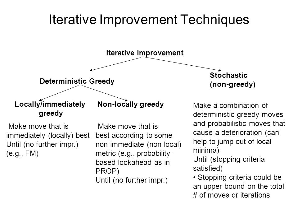 Iterative Improvement Techniques Iterative improvement Deterministic Greedy Stochastic (non-greedy) Locally/immediately greedy Non-locally greedy Make move that is immediately (locally) best Until (no further impr.) (e.g., FM) Make move that is best according to some non-immediate (non-local) metric (e.g., probability- based lookahead as in PROP) Until (no further impr.) Make a combination of deterministic greedy moves and probabilistic moves that cause a deterioration (can help to jump out of local minima) Until (stopping criteria satisfied) Stopping criteria could be an upper bound on the total # of moves or iterations
