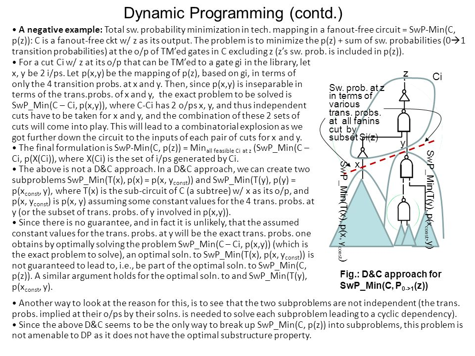 Dynamic Programming (contd.) A negative example: Total sw.