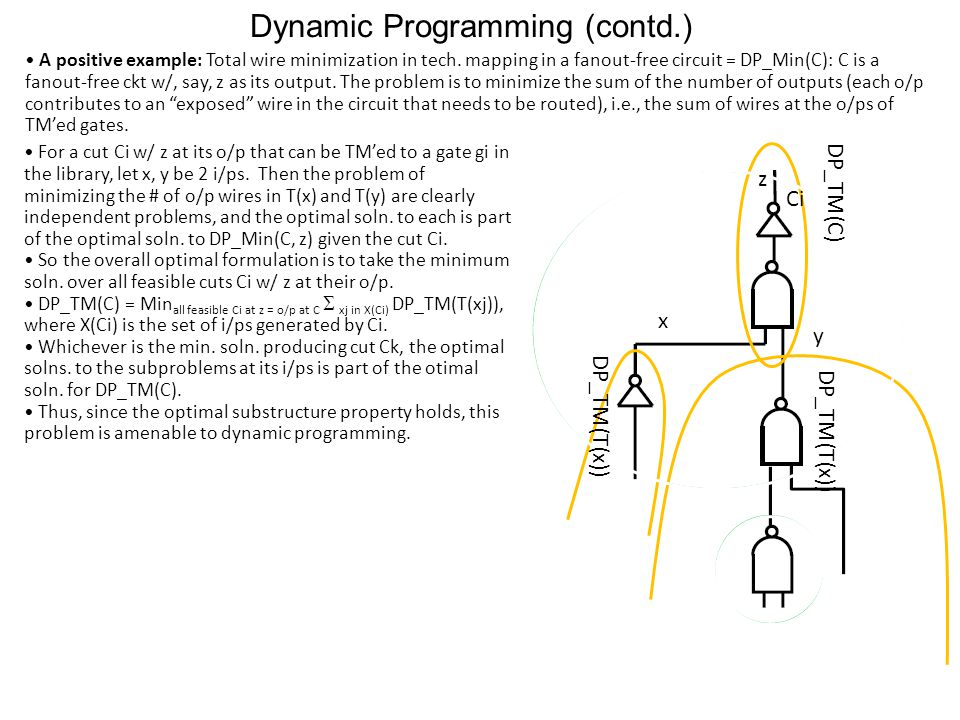 Dynamic Programming (contd.) A positive example: Total wire minimization in tech.