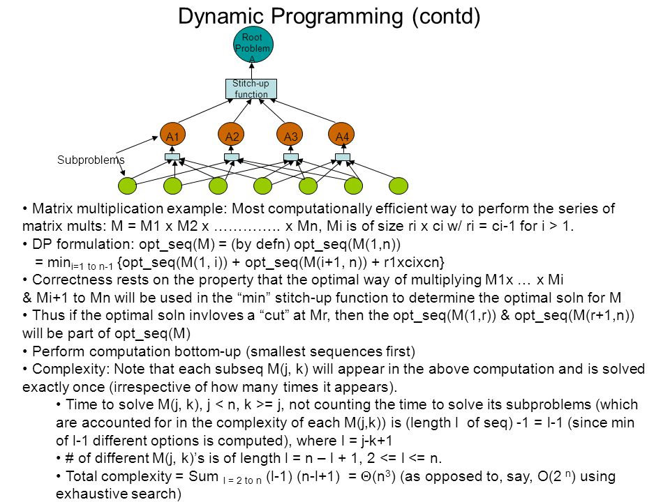 Dynamic Programming (contd) Matrix multiplication example: Most computationally efficient way to perform the series of matrix mults: M = M1 x M2 x …………..