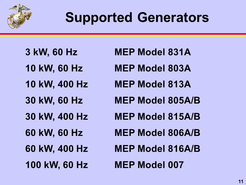11 Supported Generators 3 kW, 60 HzMEP Model 831A 10 kW, 60 HzMEP Model 803A 10 kW, 400 HzMEP Model 813A 30 kW, 60 HzMEP Model 805A/B 30 kW, 400 HzMEP Model 815A/B 60 kW, 60 HzMEP Model 806A/B 60 kW, 400 HzMEP Model 816A/B 100 kW, 60 HzMEP Model 007