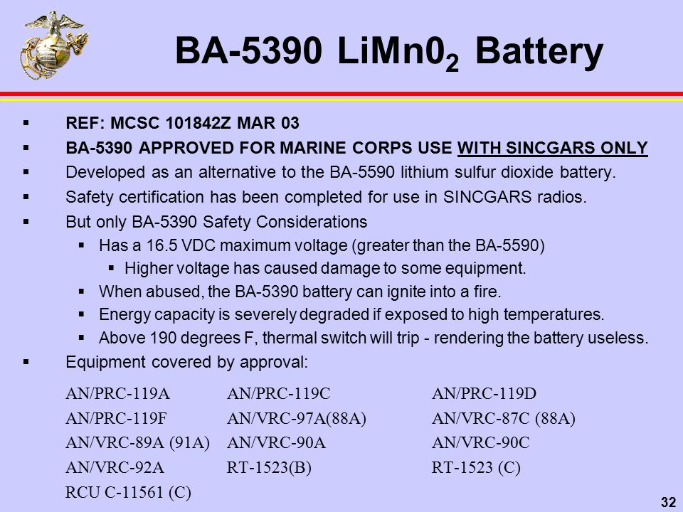 32 BA-5390 LiMn0 2 Battery  REF: MCSC 101842Z MAR 03  BA-5390 APPROVED FOR MARINE CORPS USE WITH SINCGARS ONLY  Developed as an alternative to the BA-5590 lithium sulfur dioxide battery.