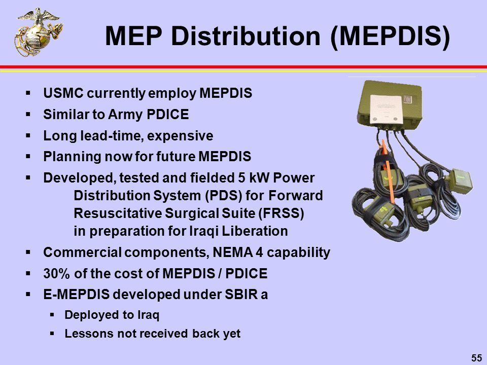 55 MEP Distribution (MEPDIS)  USMC currently employ MEPDIS  Similar to Army PDICE  Long lead-time, expensive  Planning now for future MEPDIS  Developed, tested and fielded 5 kW Power Distribution System (PDS) for Forward Resuscitative Surgical Suite (FRSS) in preparation for Iraqi Liberation  Commercial components, NEMA 4 capability  30% of the cost of MEPDIS / PDICE  E-MEPDIS developed under SBIR a  Deployed to Iraq  Lessons not received back yet