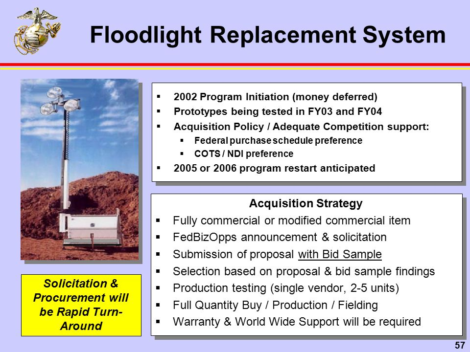 57 Floodlight Replacement System Acquisition Strategy  Fully commercial or modified commercial item  FedBizOpps announcement & solicitation  Submission of proposal with Bid Sample  Selection based on proposal & bid sample findings  Production testing (single vendor, 2-5 units)  Full Quantity Buy / Production / Fielding  Warranty & World Wide Support will be required Acquisition Strategy  Fully commercial or modified commercial item  FedBizOpps announcement & solicitation  Submission of proposal with Bid Sample  Selection based on proposal & bid sample findings  Production testing (single vendor, 2-5 units)  Full Quantity Buy / Production / Fielding  Warranty & World Wide Support will be required Solicitation & Procurement will be Rapid Turn- Around  2002 Program Initiation (money deferred)  Prototypes being tested in FY03 and FY04  Acquisition Policy / Adequate Competition support:  Federal purchase schedule preference  COTS / NDI preference  2005 or 2006 program restart anticipated  2002 Program Initiation (money deferred)  Prototypes being tested in FY03 and FY04  Acquisition Policy / Adequate Competition support:  Federal purchase schedule preference  COTS / NDI preference  2005 or 2006 program restart anticipated