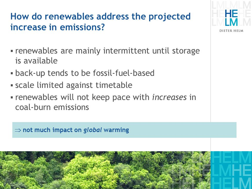 How do renewables address the projected increase in emissions.
