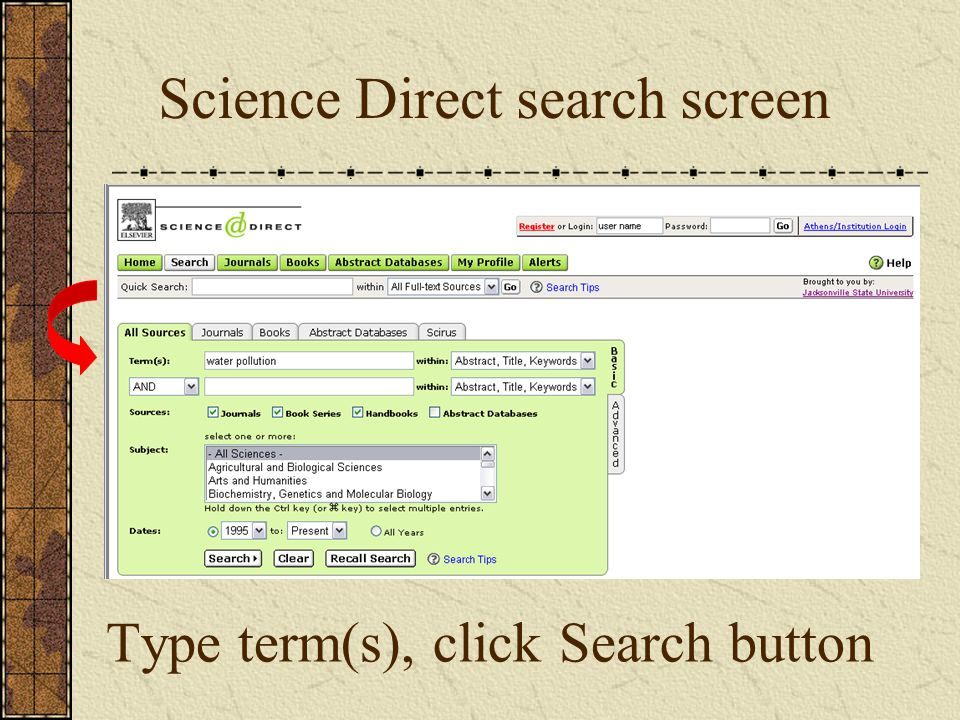 Type term(s), click Search button Science Direct search screen