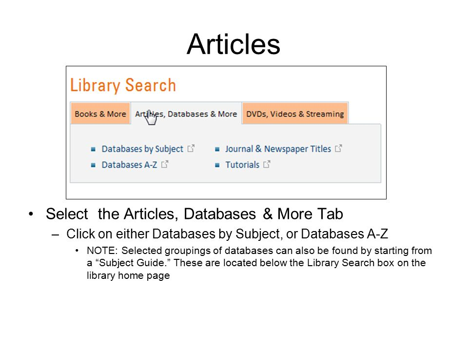 Articles Select the Articles, Databases & More Tab –Click on either Databases by Subject, or Databases A-Z NOTE: Selected groupings of databases can also be found by starting from a Subject Guide. These are located below the Library Search box on the library home page