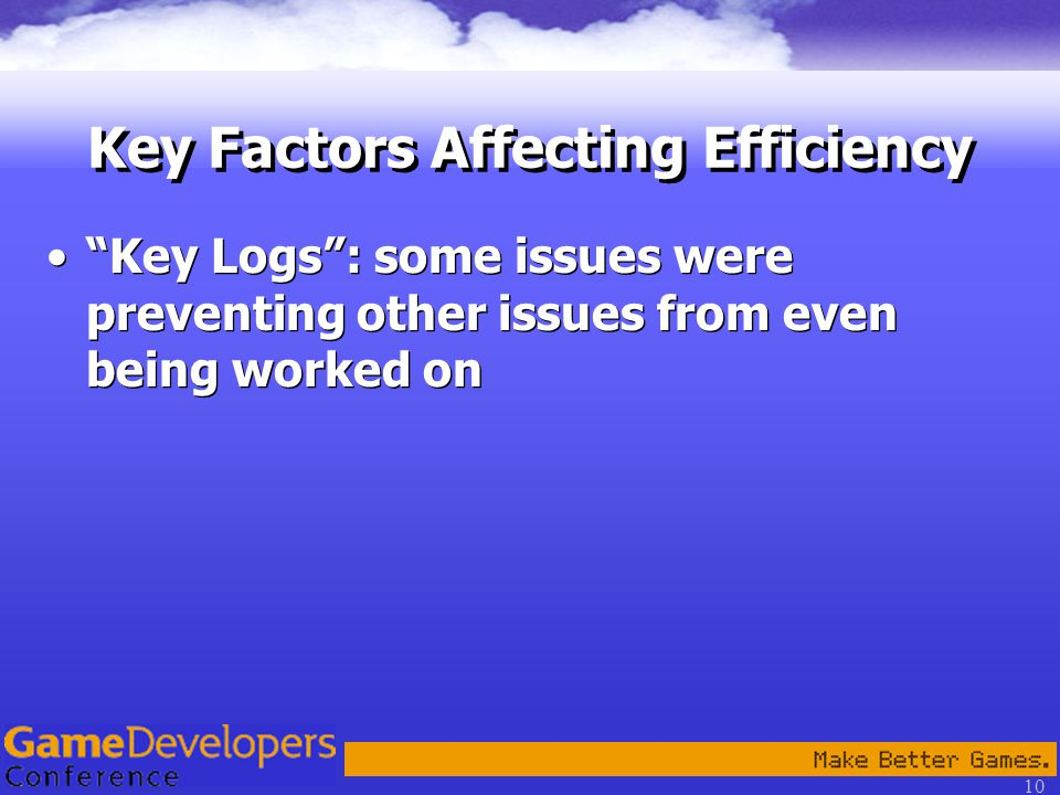 10 Key Logs : some issues were preventing other issues from even being worked on Key Factors Affecting Efficiency