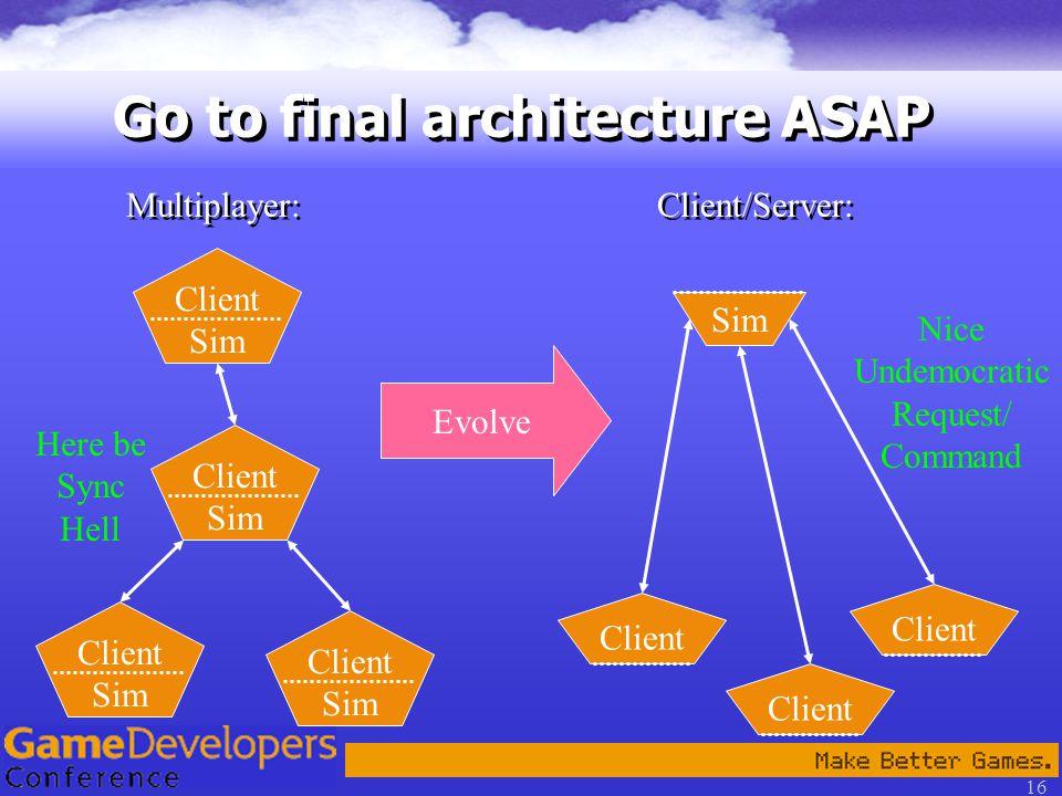 16 Go to final architecture ASAP Client Sim Client Sim Client Sim Client Sim Multiplayer: Here be Sync Hell Evolve Client/Server: Client Sim Client Nice Undemocratic Request/ Command