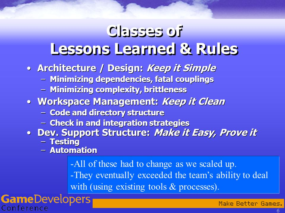 6 Classes of Lessons Learned & Rules Architecture / Design: Keep it Simple –Minimizing dependencies, fatal couplings –Minimizing complexity, brittleness Workspace Management: Keep it Clean –Code and directory structure –Check in and integration strategies Dev.