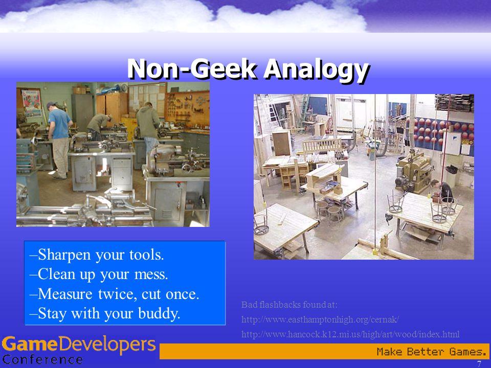 7 Non-Geek Analogy Bad flashbacks found at: http://www.easthamptonhigh.org/cernak/ http://www.hancock.k12.mi.us/high/art/wood/index.html –Sharpen your tools.