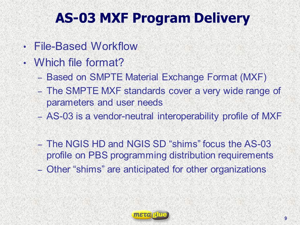 20 Specification A set of general constraints plus one or more shims that are directed to specific applications: for example, one for NGIS HD , one for NGIS SD , one for Broadcaster A , and so on.