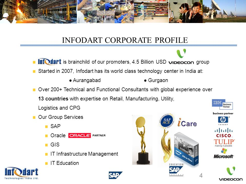 SAP ECC & NetWeaver® enabled for over 30 companies worldwide Europe : Italy, France, Poland, Germany, Spain Asia : China, Hong Kong Middle East: Oman America: USA, Mexico INFODART'S ACHIEVEMENTS Multiple Countries covered in Single Project Unicode Implementation Managed multiple languages and multiple currencies Country Specific Localization with complex management set ups.