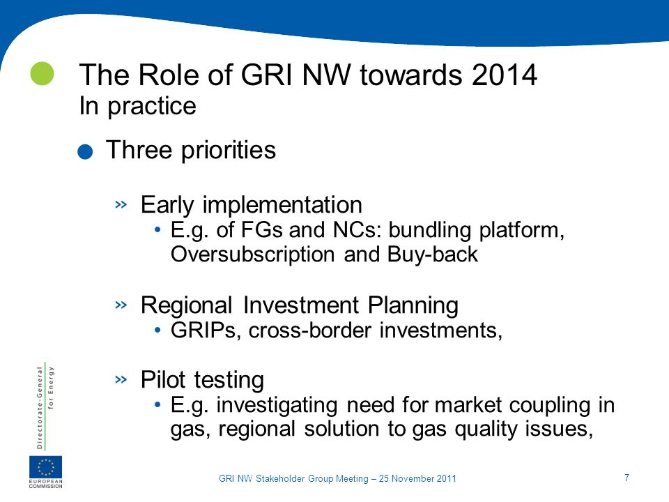 7 GRI NW Stakeholder Group Meeting – 25 November 2011 The Role of GRI NW towards 2014 In practice. Three priorities » Early implementation E.g. of FGs