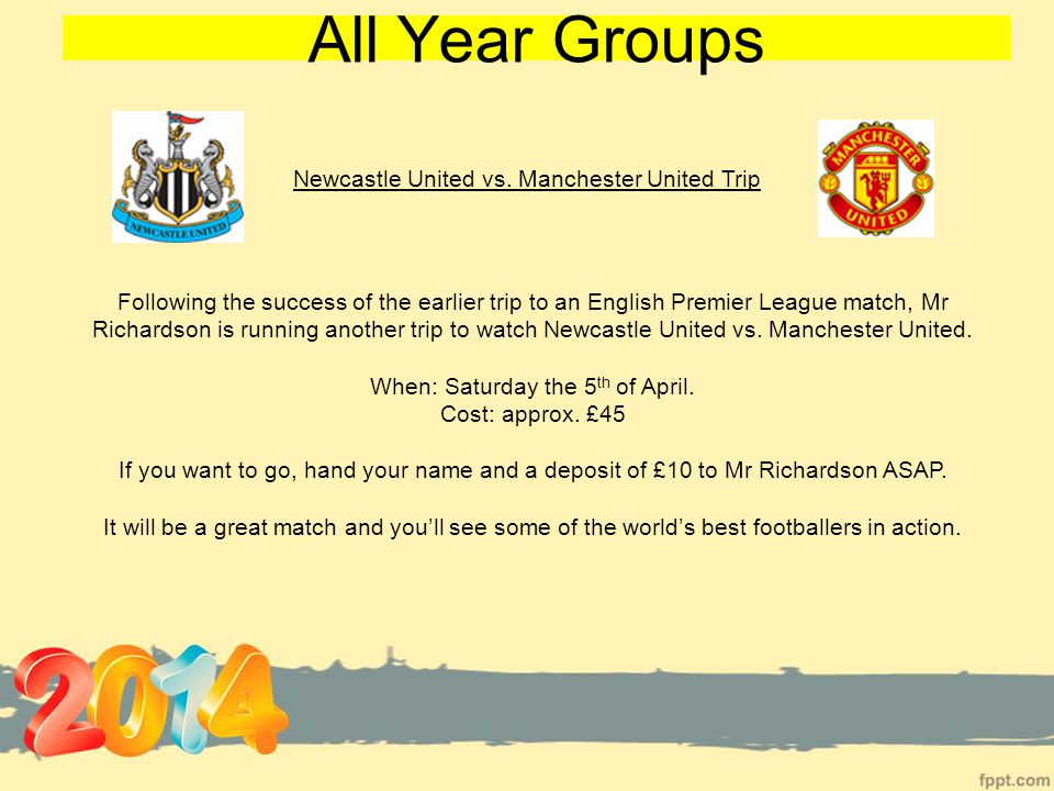All Year Groups Newcastle United vs.