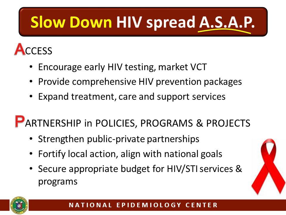 N A T I O N A L E P I D E M I O L O G Y C E N T E R Slow Down HIV spread A.S.A.P.